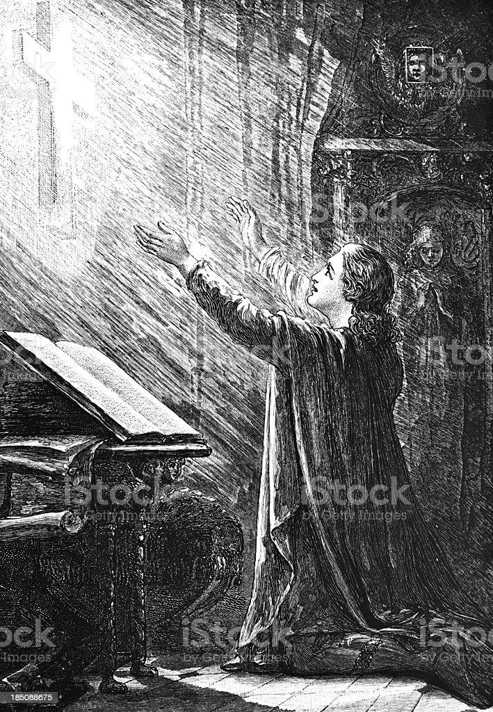 Man Praying - Victorian Illustration royalty-free stock vector art