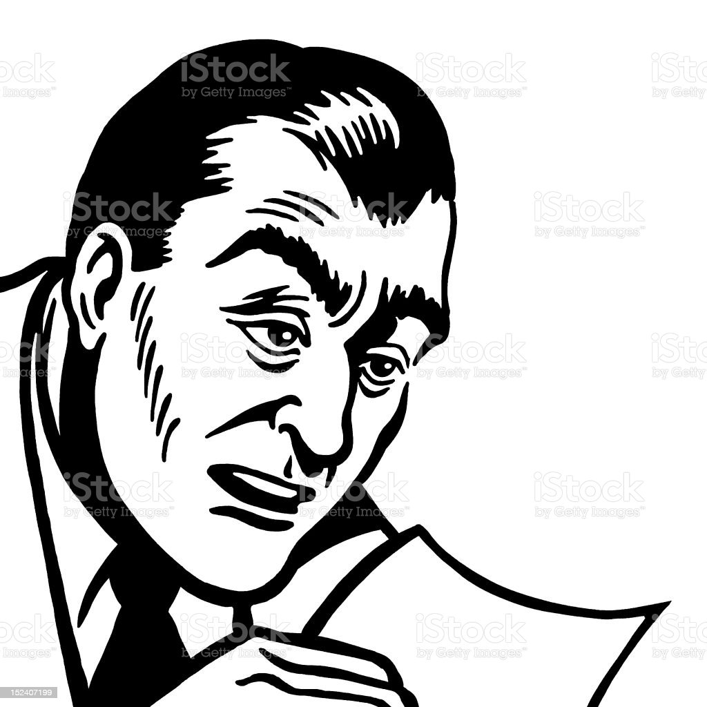 Man Reading A Piece of Paper royalty-free stock vector art