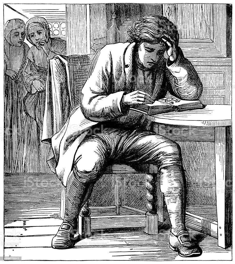 Man reading at a table vector art illustration