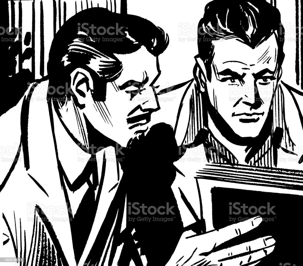 Man Reading Book With Another Man Looking Over His Shoulder royalty-free stock vector art