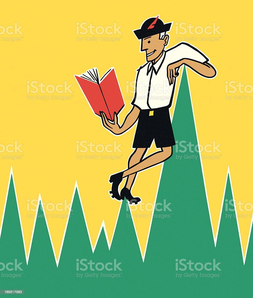 Man Reading in the Mountains royalty-free stock vector art