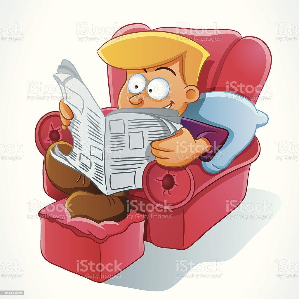Man Reading Newspaper royalty-free stock vector art