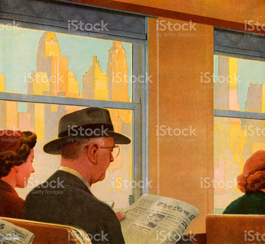 Man Reading on Train royalty-free stock vector art