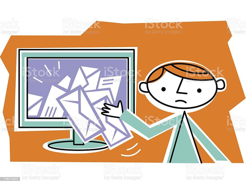 Man retrieving mail from internet vector art illustration
