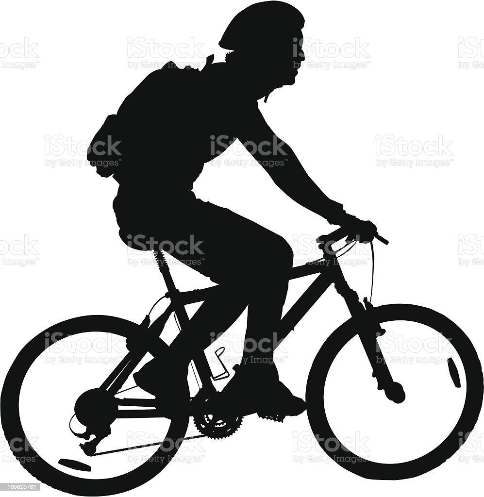 Man Riding Mountain Bike vector art illustration