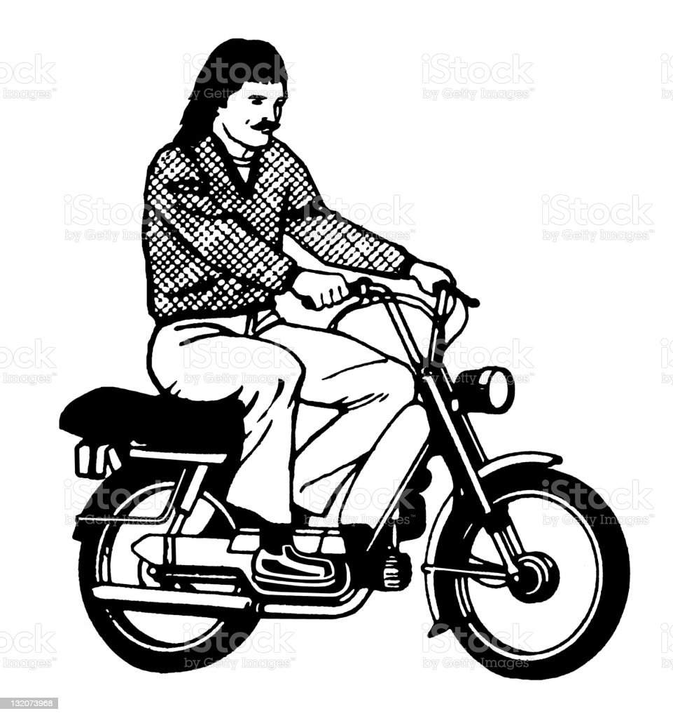 Man Riding Scooter royalty-free stock vector art