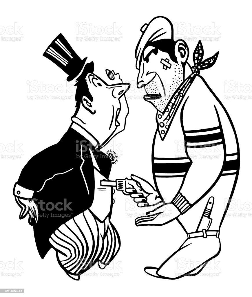 Man Robbing Man in Top Hat vector art illustration