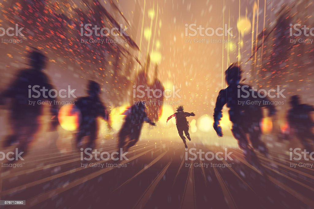 man runing away from zombies vector art illustration