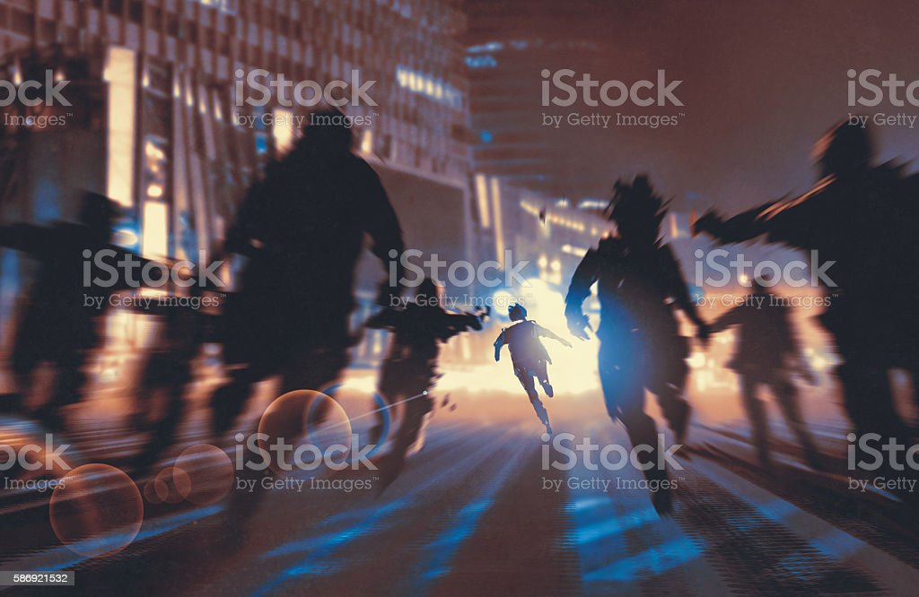 man running away from zombies in the night city vector art illustration
