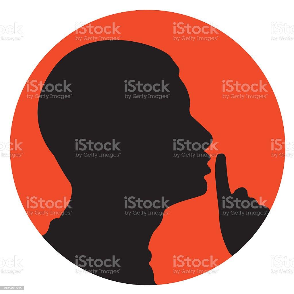 Man shhh sign vector art illustration