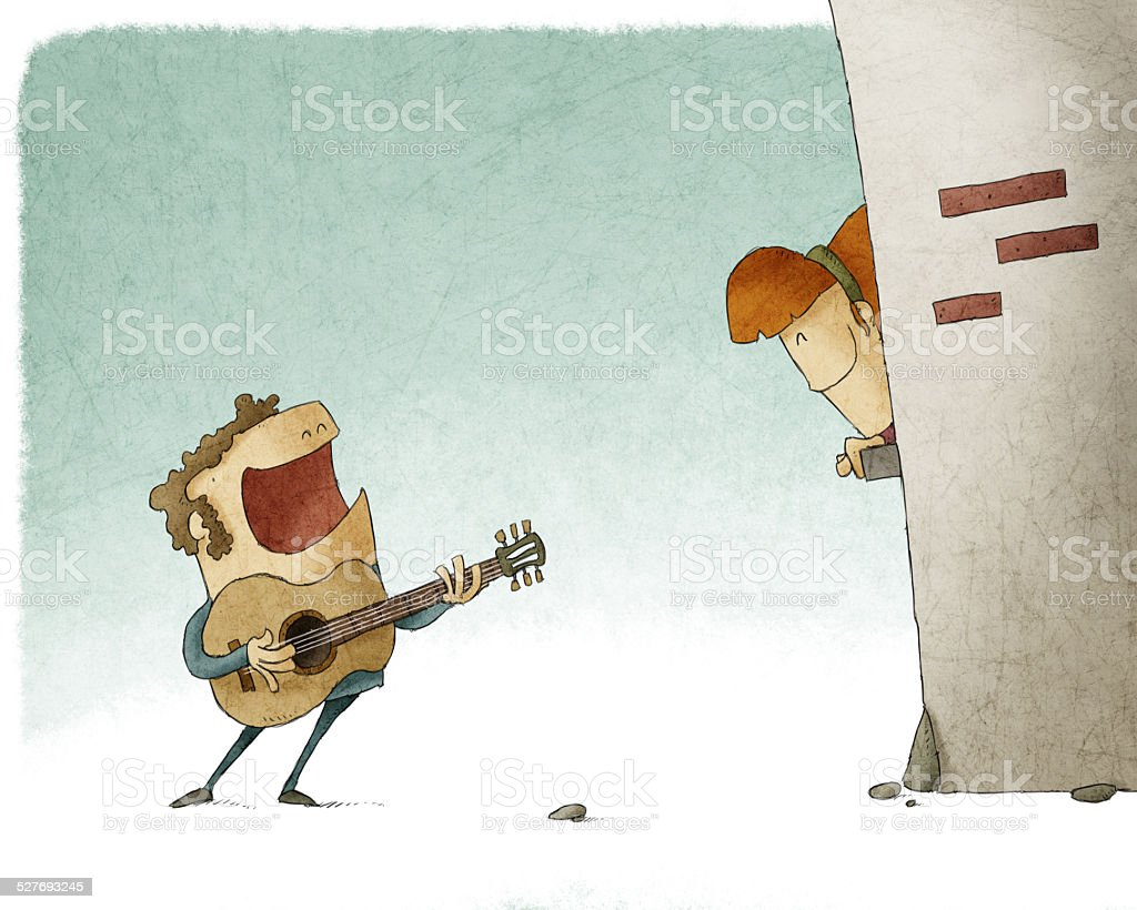 Man singing and playing guitar for a woman vector art illustration