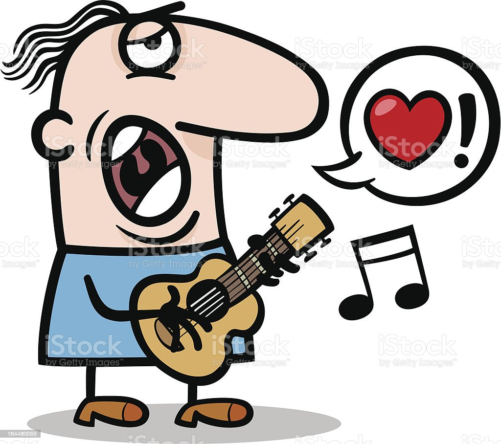man singing love song for valentines day royalty-free stock vector art