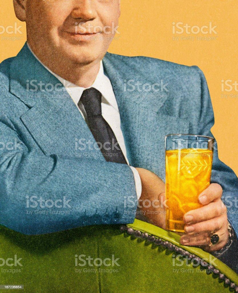 Man Sitting and Holding Drink vector art illustration