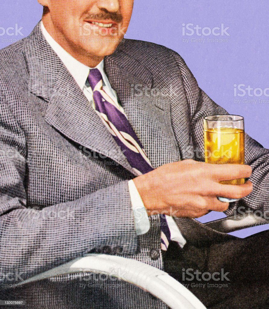 Man Sitting Holding Drink royalty-free stock vector art