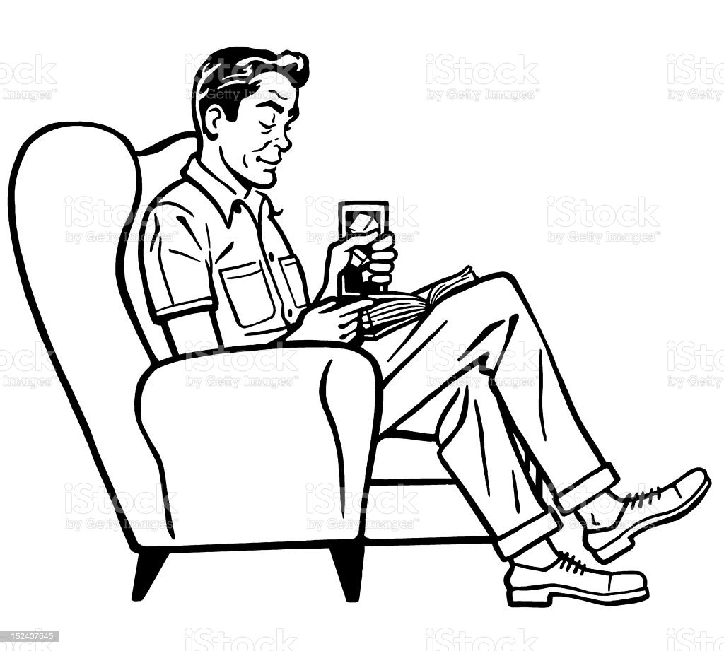 Man Sitting In Chair And Reading Stock Vector Art