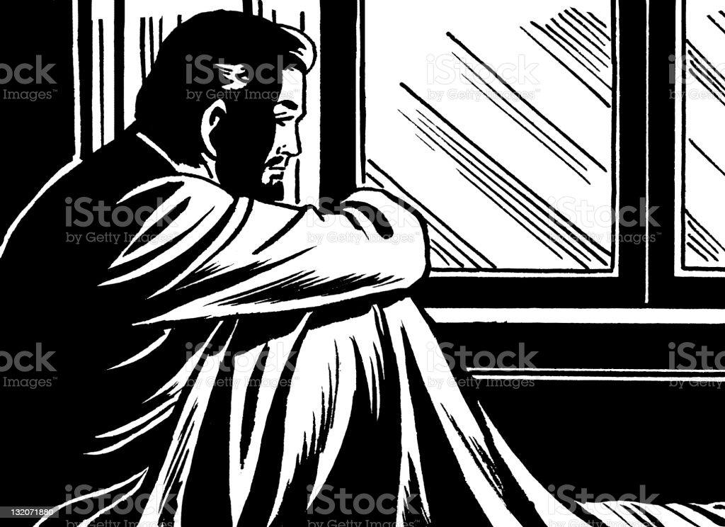 Man Sitting up in Bed vector art illustration