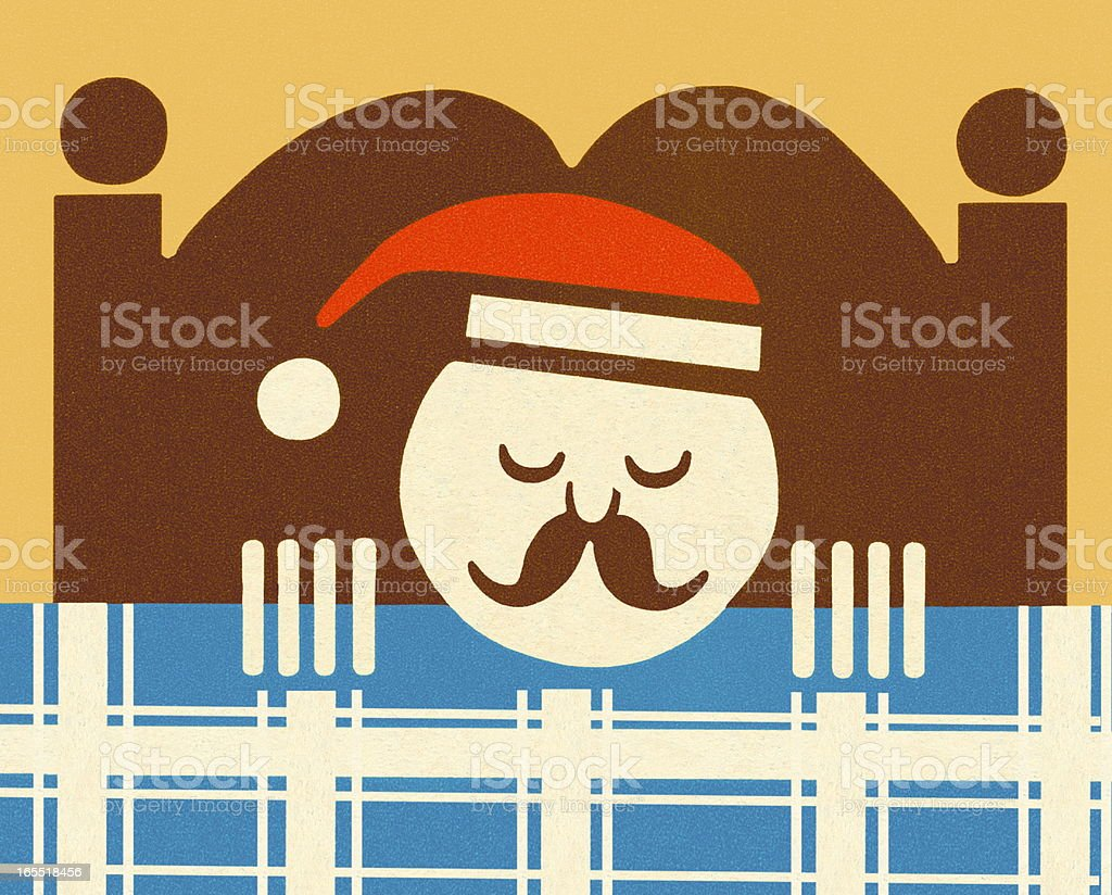 Man Sleeping in Bed royalty-free stock vector art
