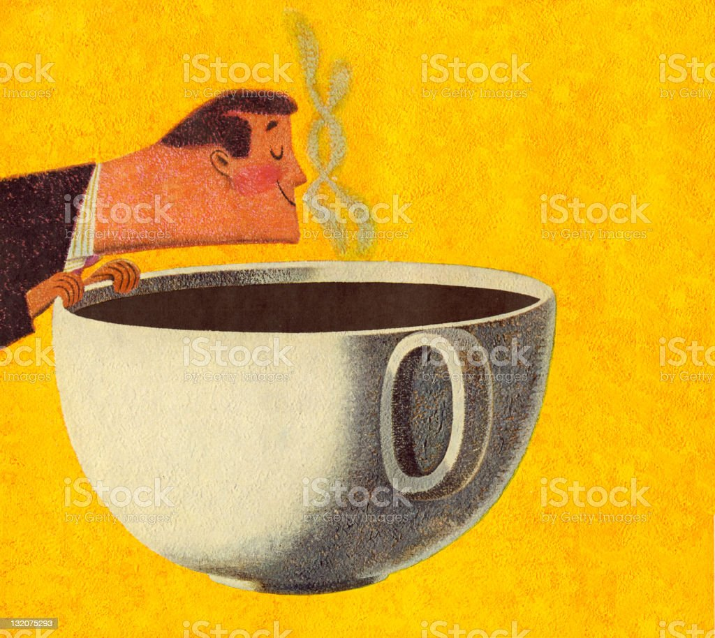 Man Smelling Giant Cup of Coffee royalty-free stock vector art