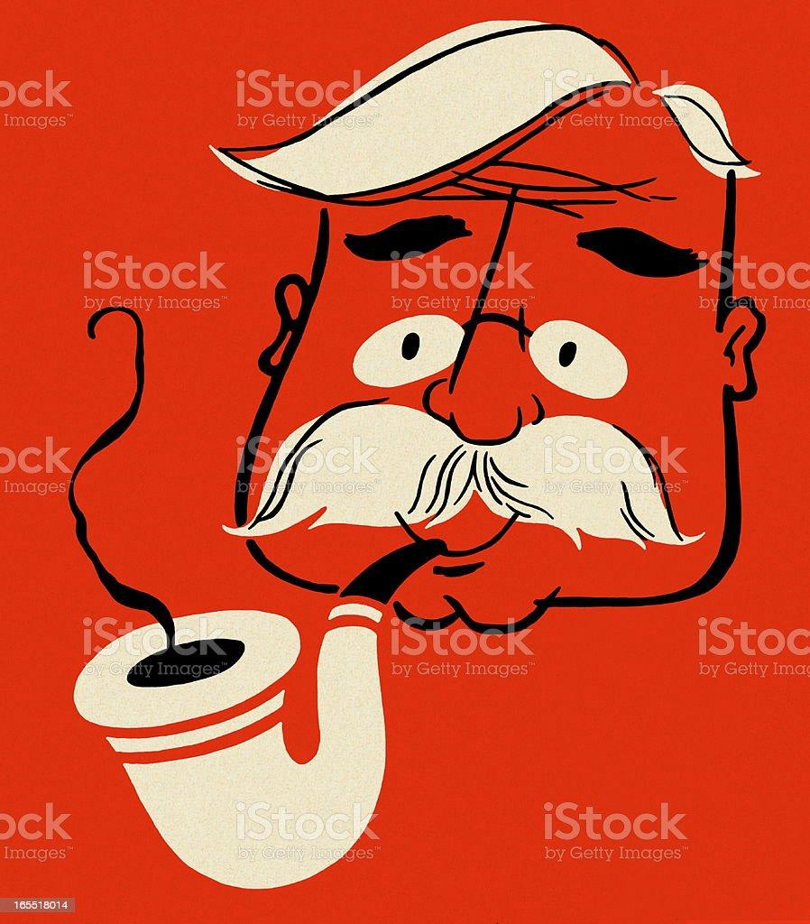 Man Smoking a Pipe royalty-free stock vector art