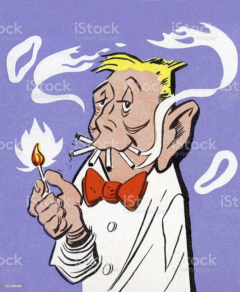 Man Smoking Five Cigarettes royalty-free stock vector art