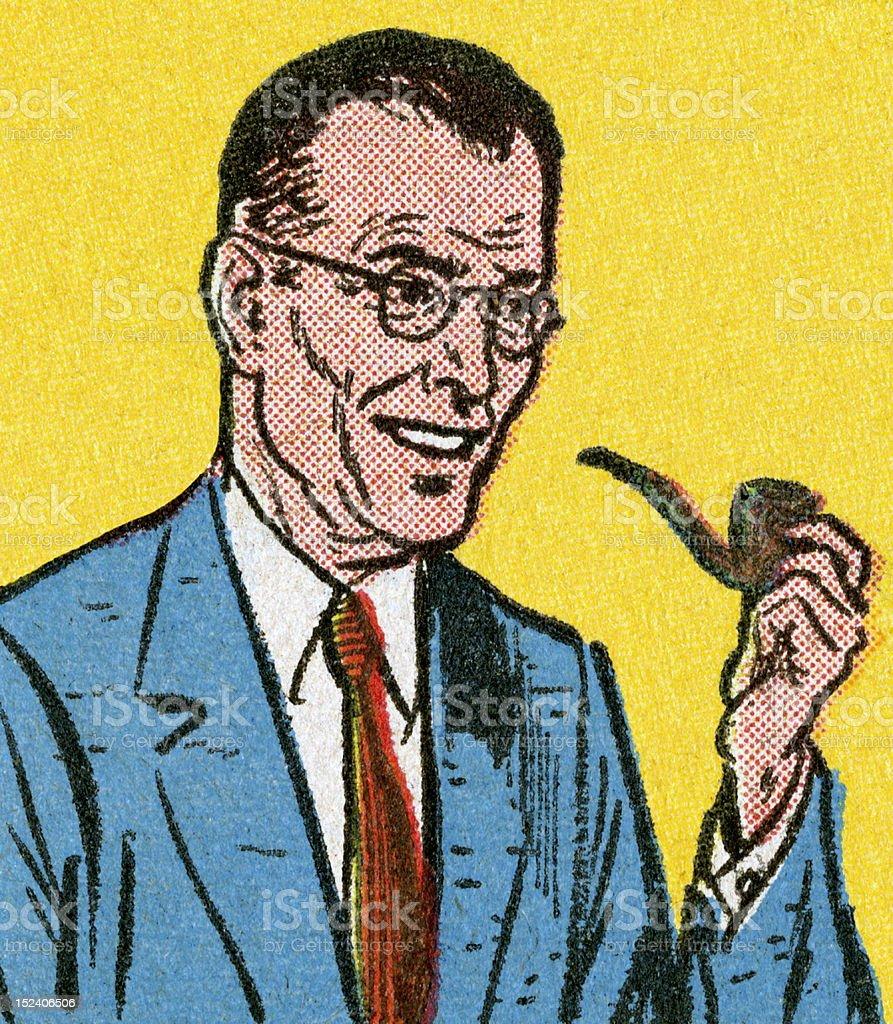Man Smoking Pipe vector art illustration