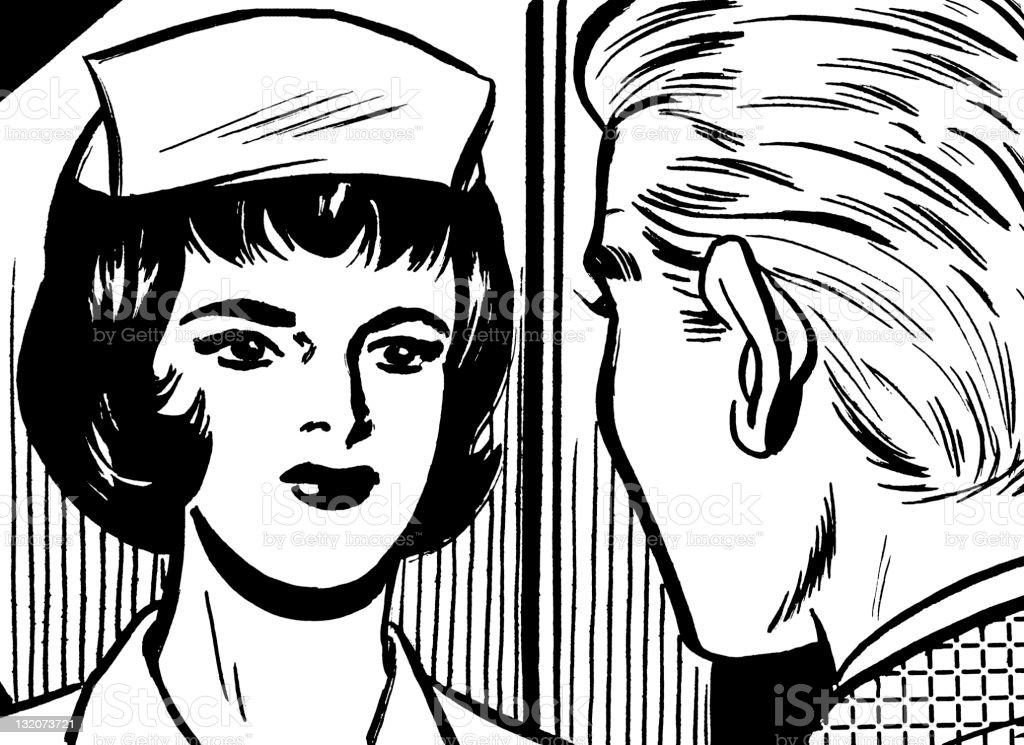 Man Speaking to Nurse royalty-free stock vector art