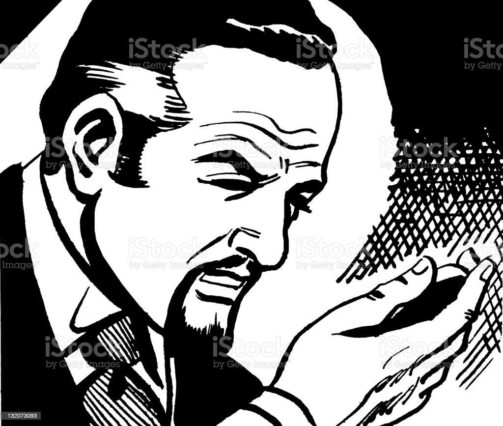 Man Squinting at Hand vector art illustration