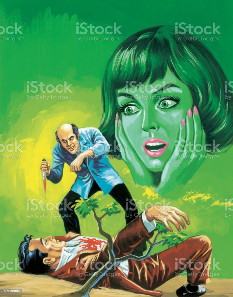 Man Stabbing Other Man as Green Woman Watches vector art illustration