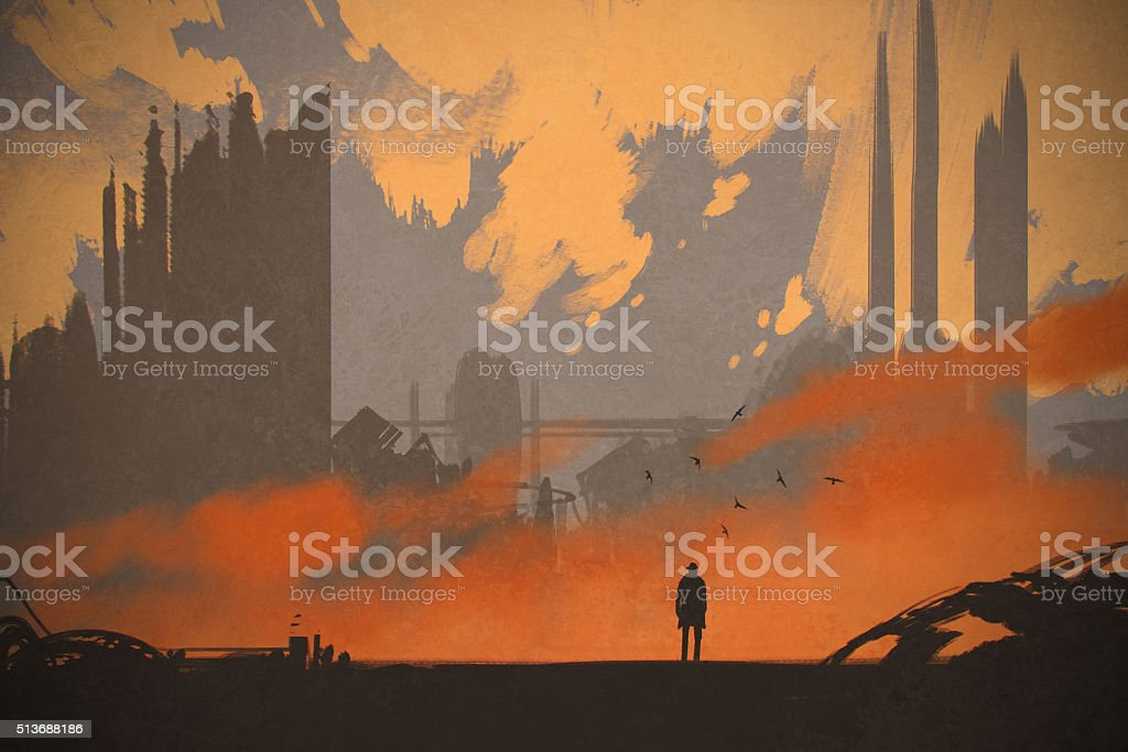 man standing at abandoned city vector art illustration