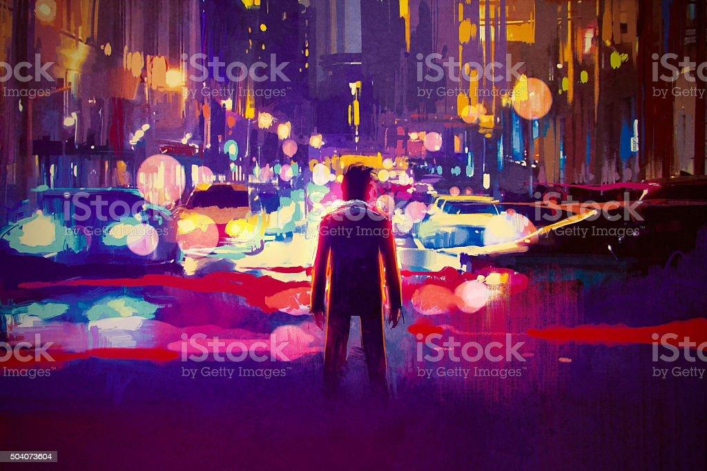 man standing on illuminated street at night vector art illustration