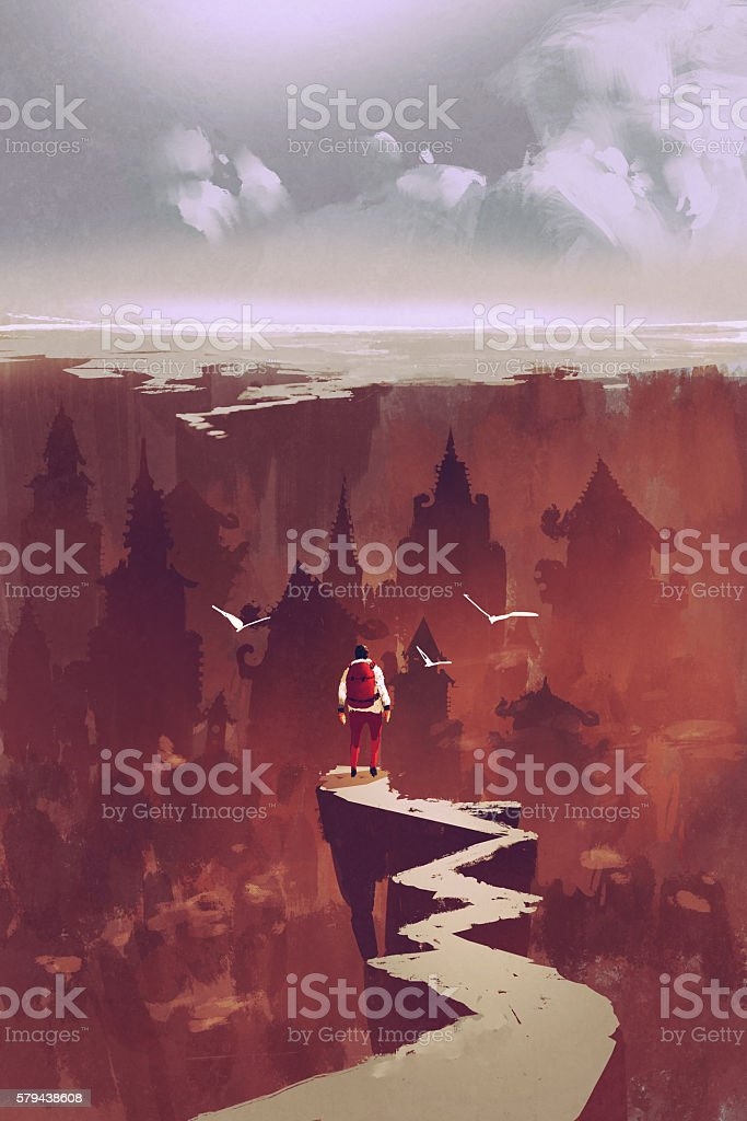 man standing on rock path looking at the buried city vector art illustration