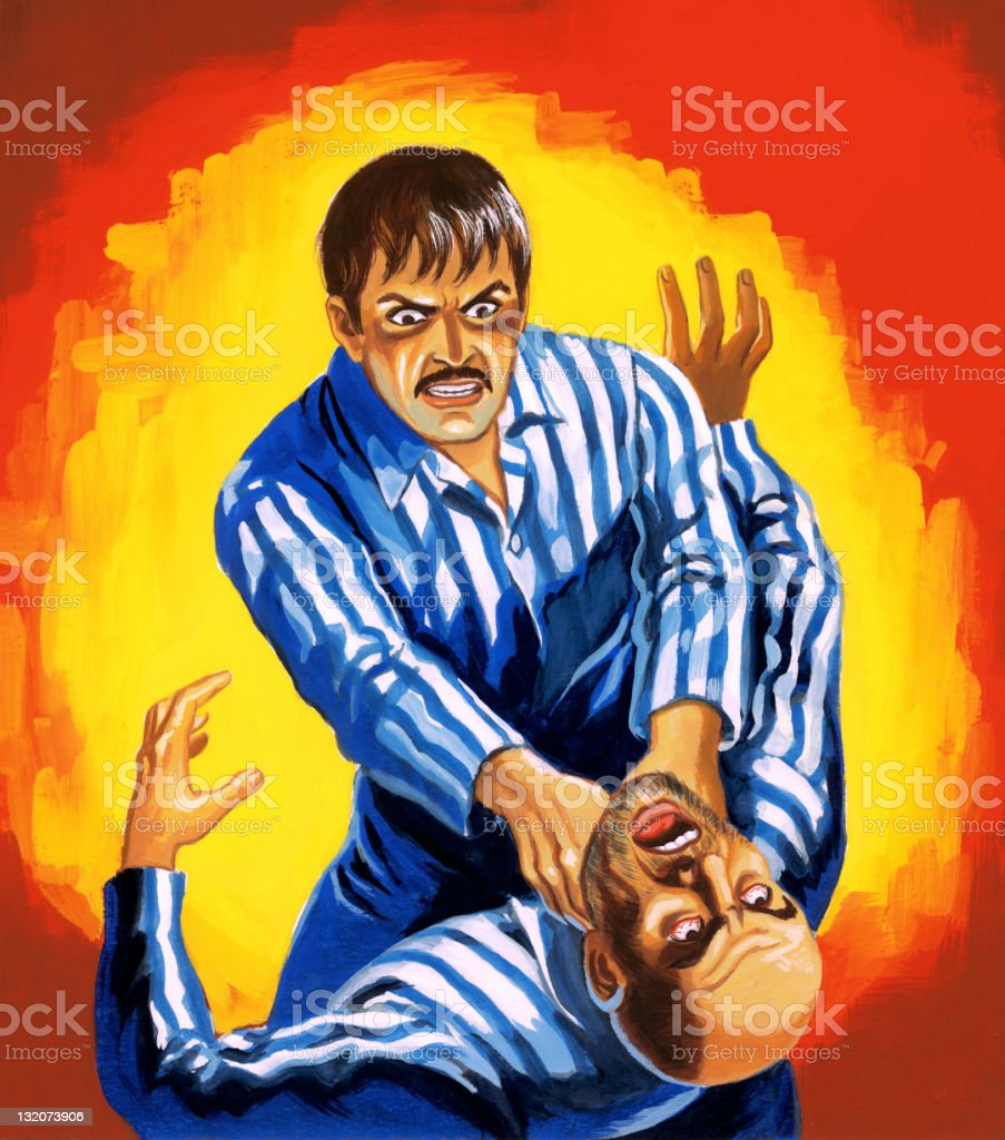 Man Strangling Other Man vector art illustration