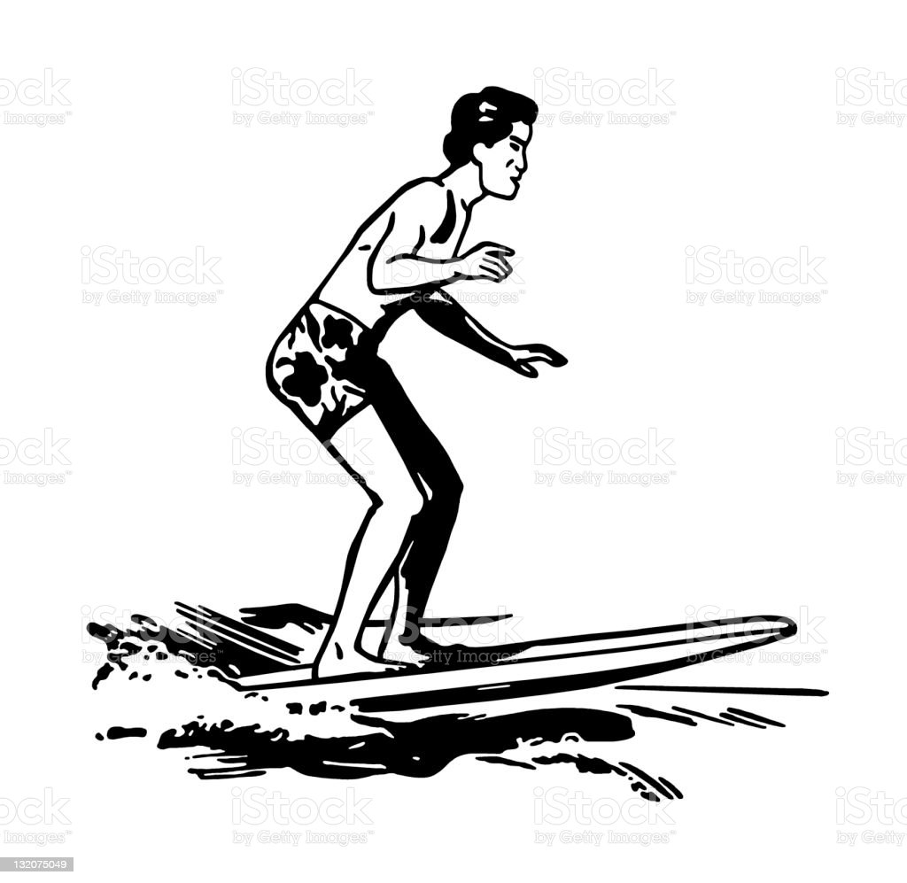 Man Surfing royalty-free stock vector art