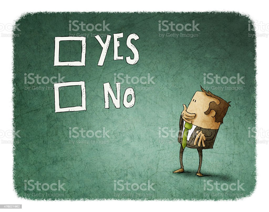 man take a decision between yes or no vector art illustration
