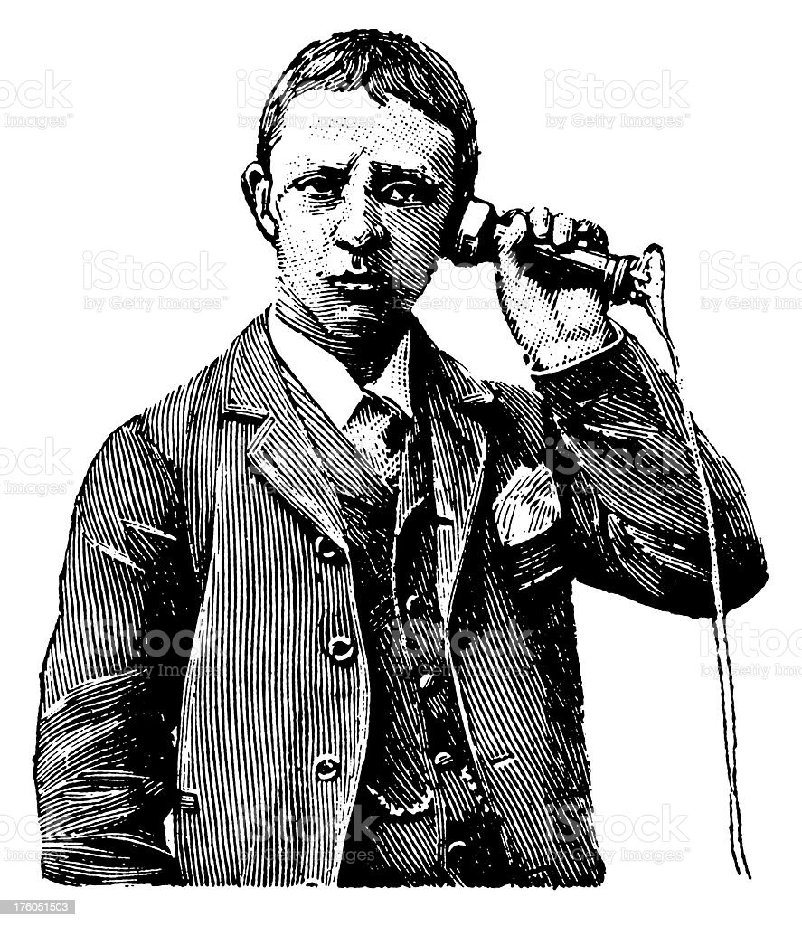 Man talking on the phone | Antique Design Illustrations royalty-free stock vector art