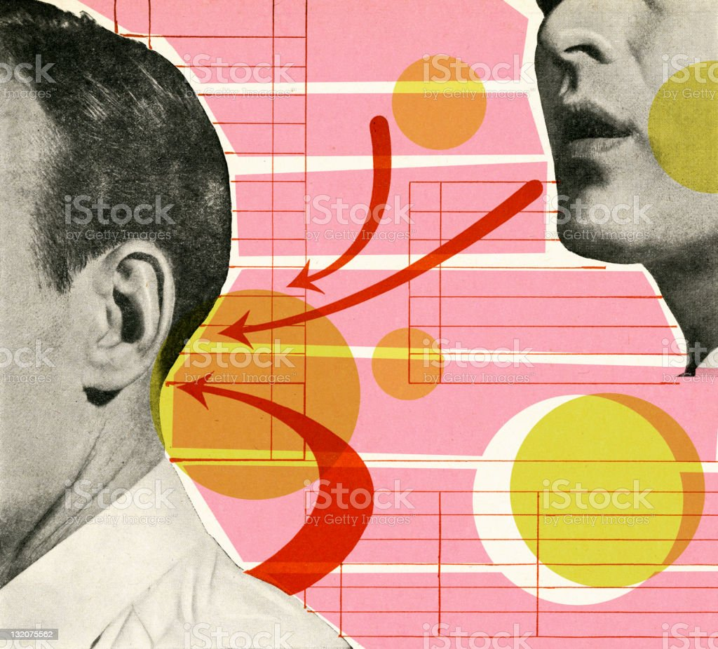 Man Talking to Back of Another Man's Head vector art illustration