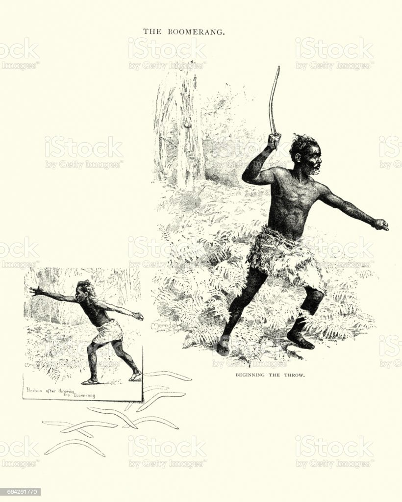 Man throwing a boomerang, 19th Century vector art illustration