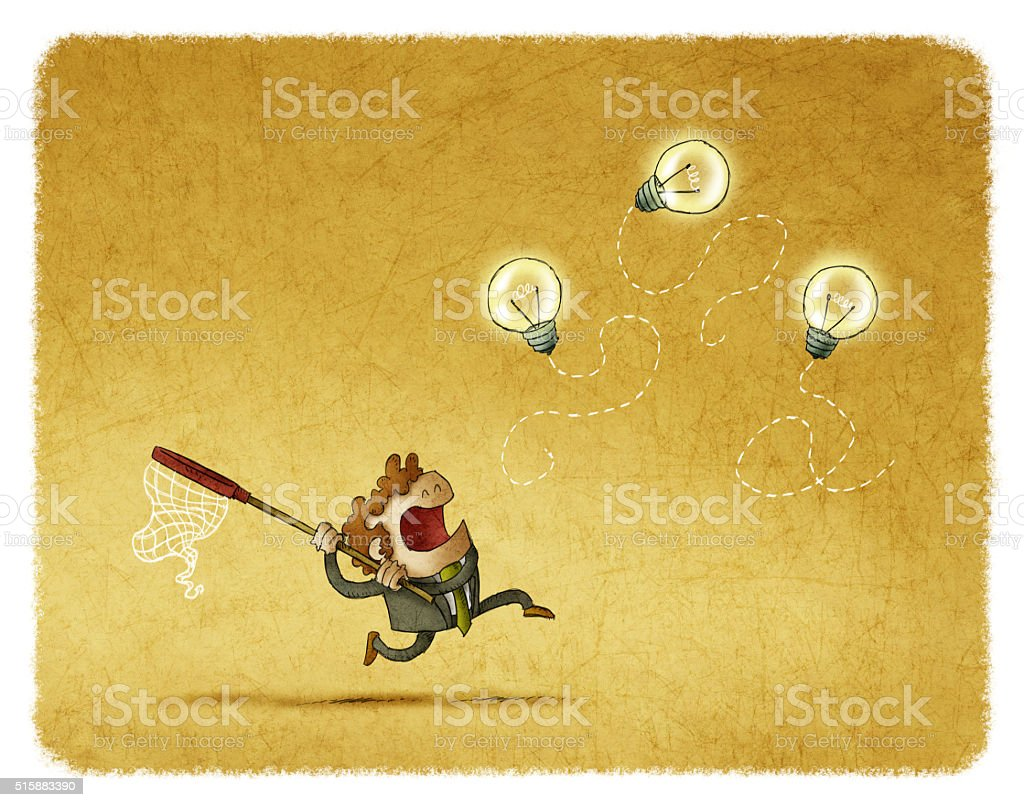 Man trying to catch flying bulbs vector art illustration