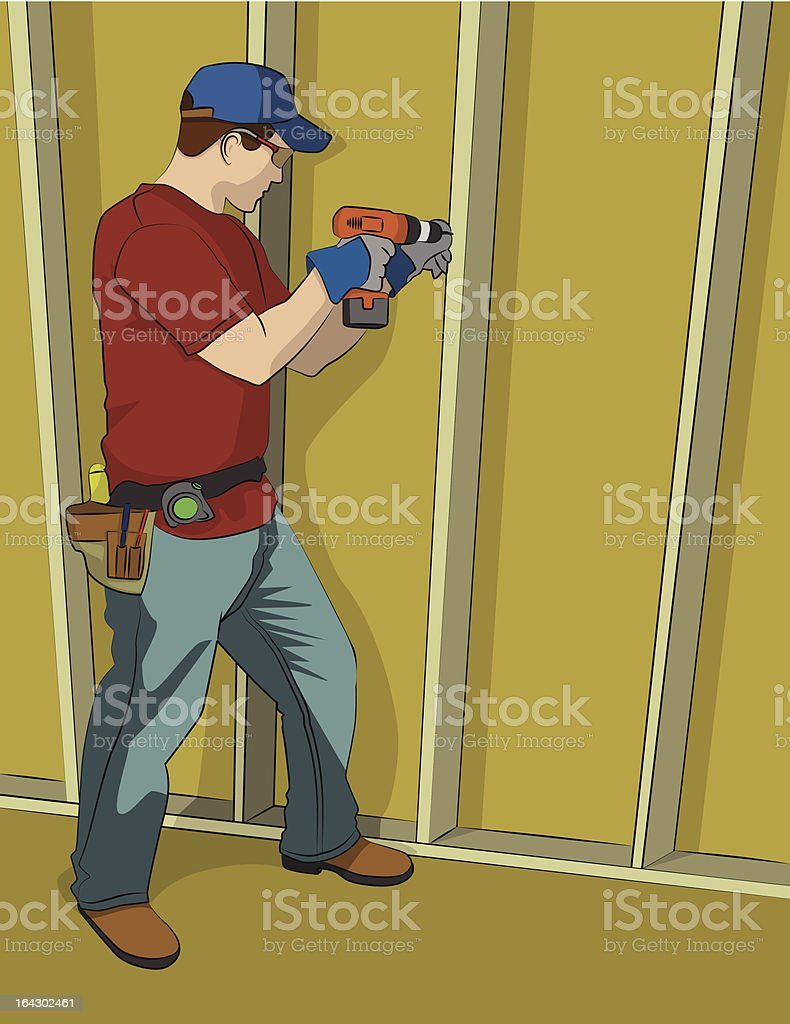 Man Using Cordless Drill royalty-free stock vector art