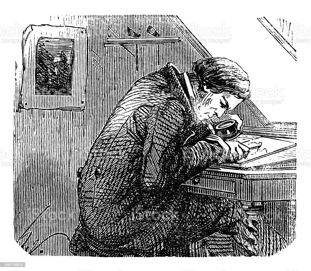 Man using magnifying glass vector art illustration