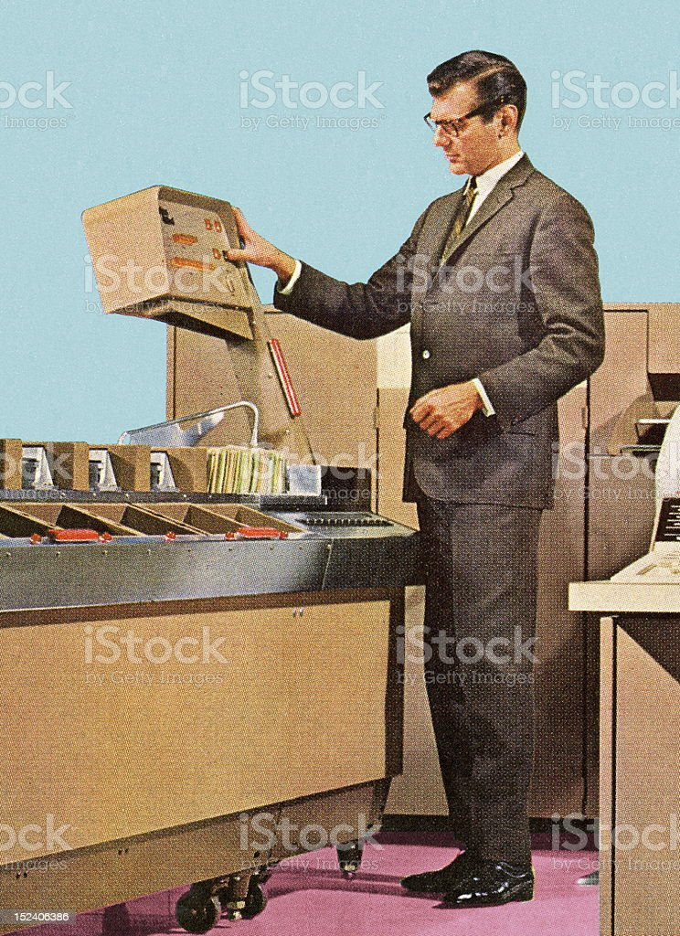 Man Using Old Computer royalty-free stock vector art
