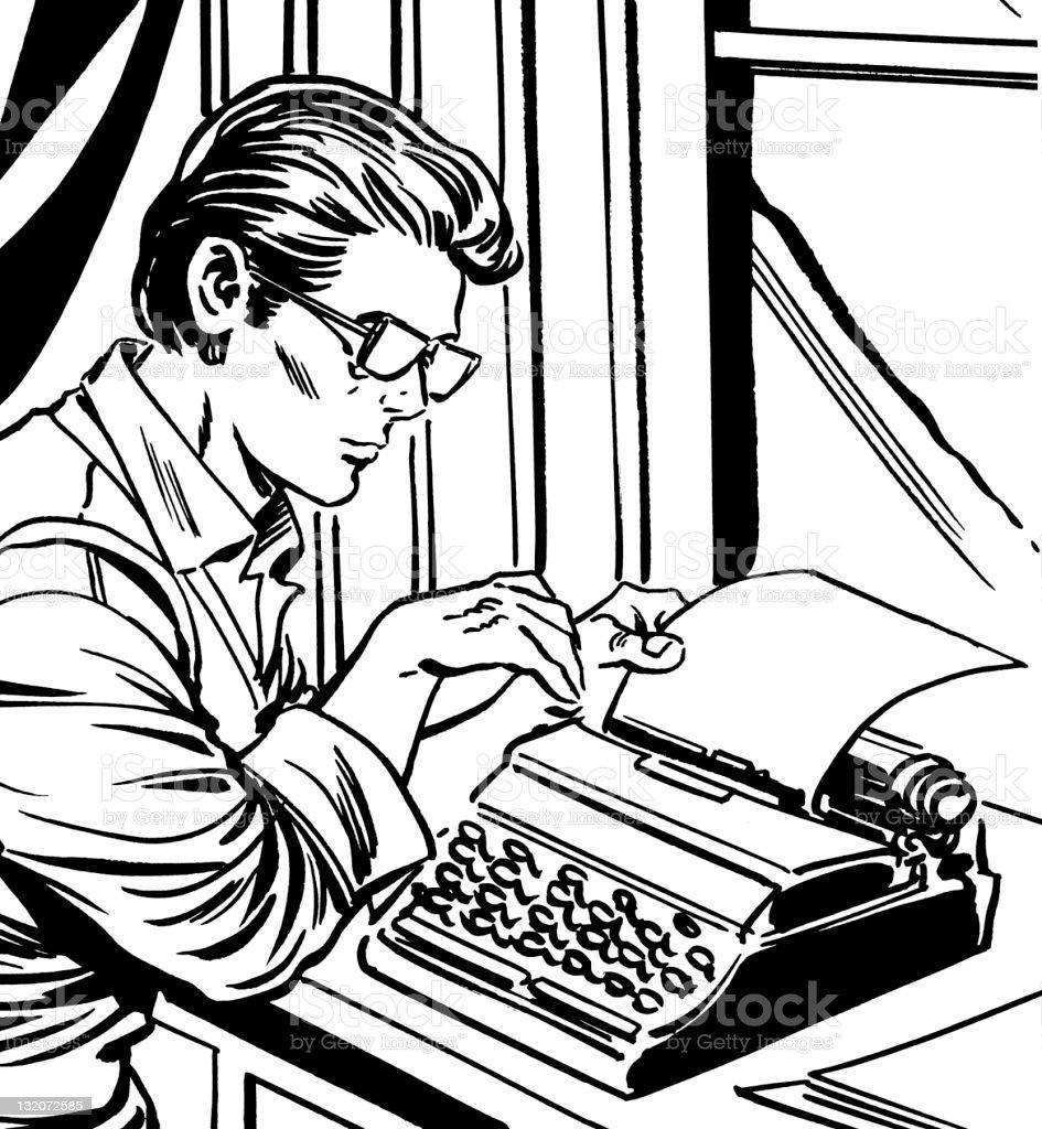 Man Using Typewriter royalty-free stock vector art