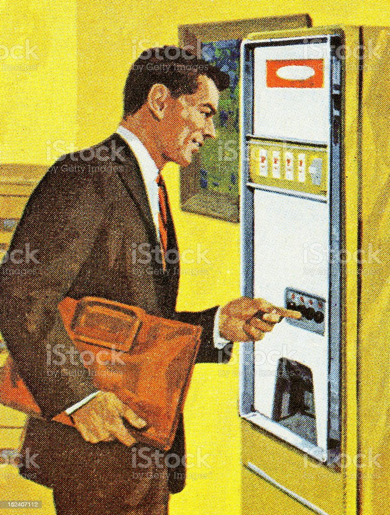 Man Using Vending Machine vector art illustration