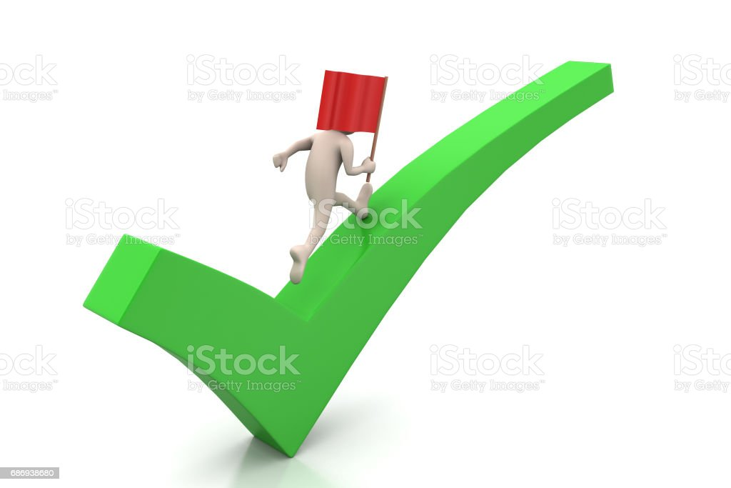 Man walking the right mark with flag stock photo