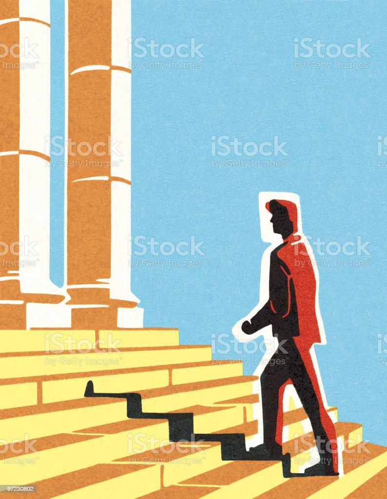 Man walking up steps royalty-free stock vector art
