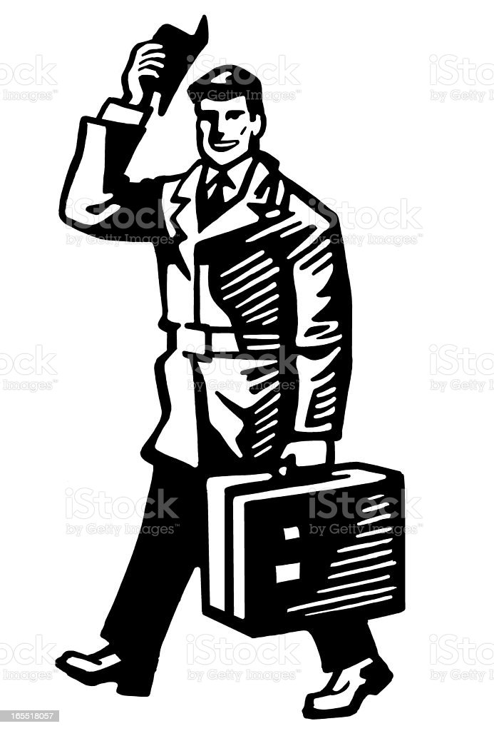 Man Walking with a Briefcase royalty-free stock vector art