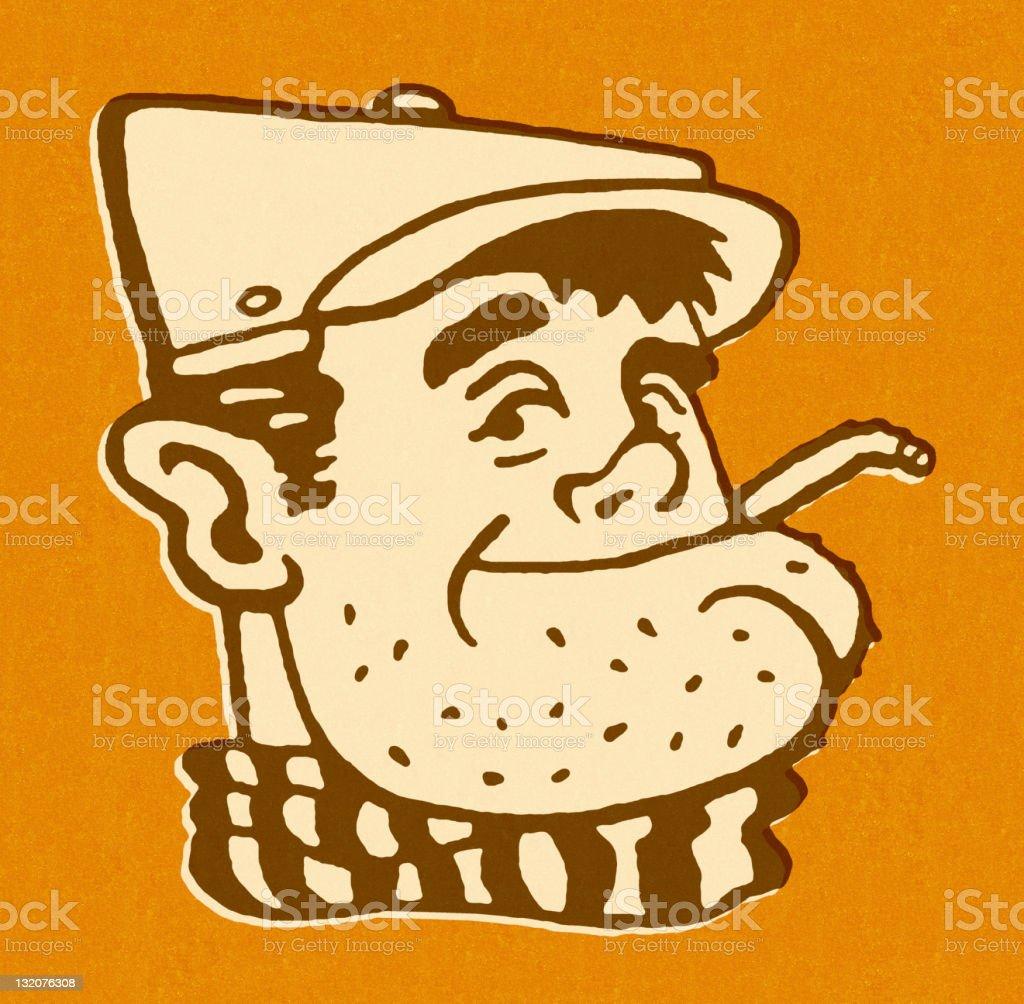 Man Wearing Hat and Smoking royalty-free stock vector art