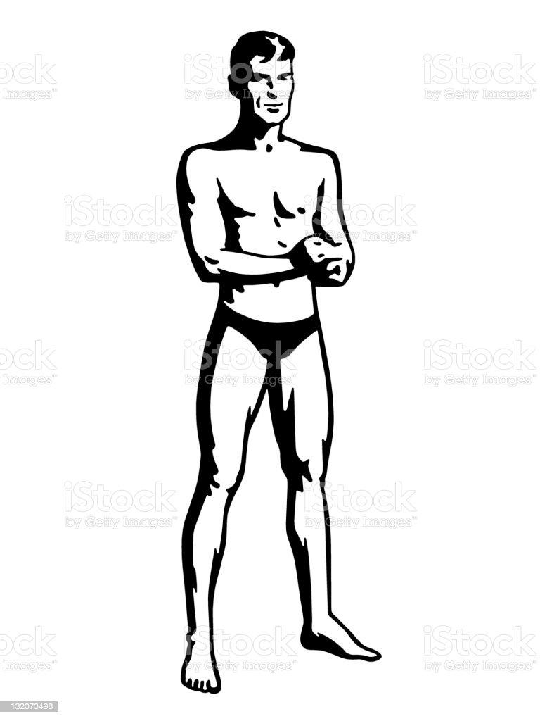 Man Wearing Tiny Swim Trunks vector art illustration