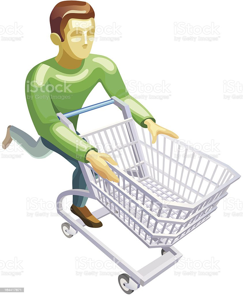 man with a basket royalty-free stock vector art