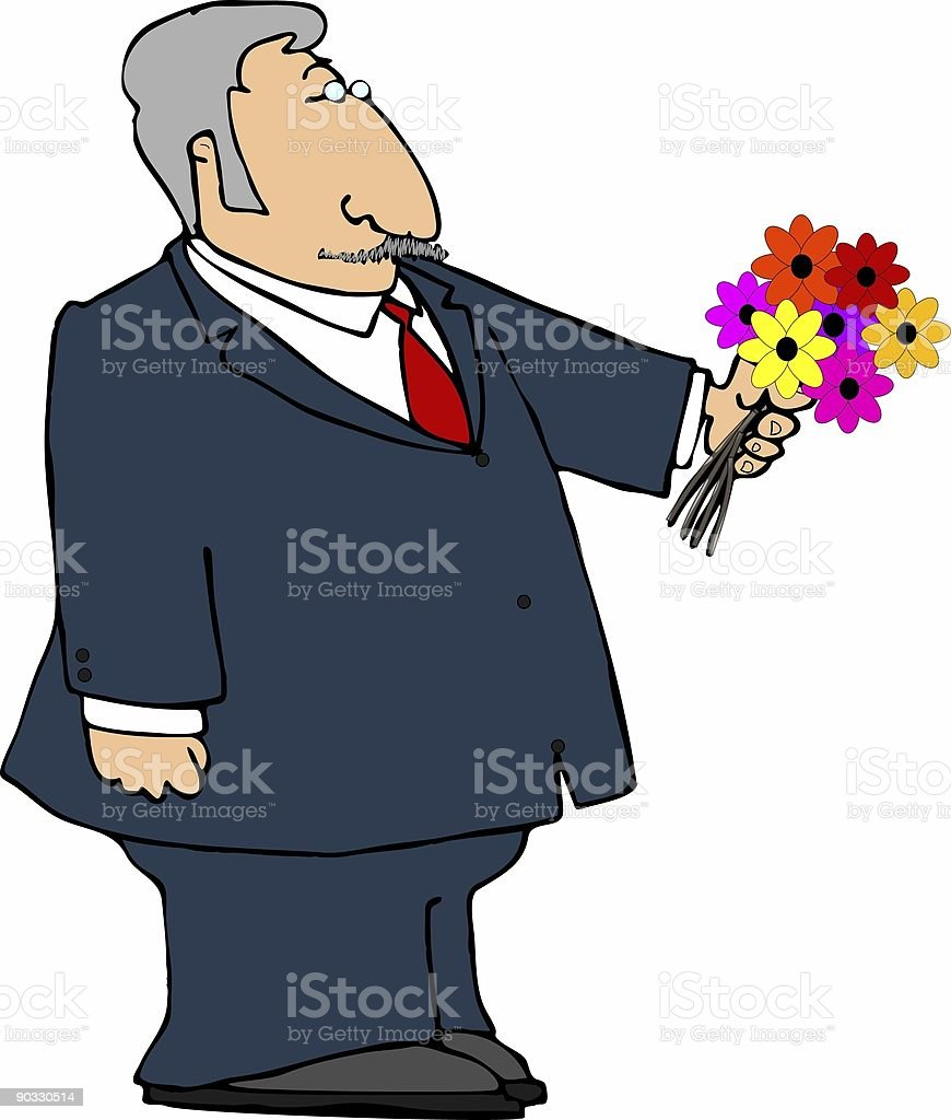 Man with a bouquet of flowers vector art illustration